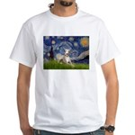 Starry Night Whippet White T-Shirt