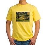 Starry Night Whippet Yellow T-Shirt