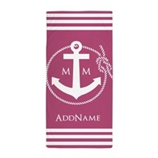 Girly Nautical Pink Anchor Monogram Beach Towel