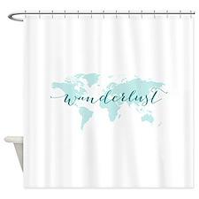 Wanderlust, teal world map Shower Curtain