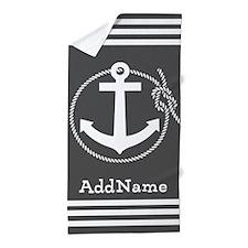 Charcoal Gray Vintage Anchor Custom Mo Beach Towel