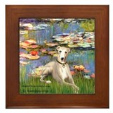 Lilies &amp; Whippet Framed Tile