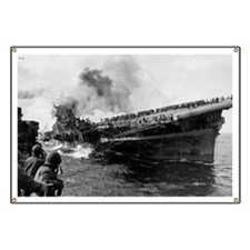 USS Franklin CV-13 Under Attack Banner