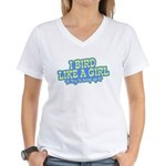 Bird Like a Girl... Keep Up Women's V-Neck T-Shirt