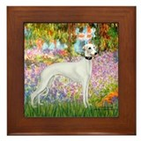 Whippet in Monet's Garden Framed Tile