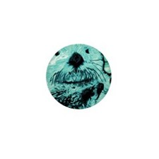 Bright aqua mint Sea Otter Mini Button