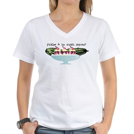Pickles & Ice Cream! Women's V-Neck T-Shirt