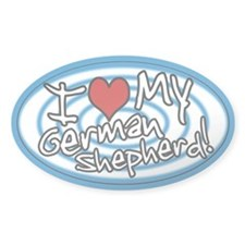 Hypno I Love My German Shepherd Oval Sticker Blu