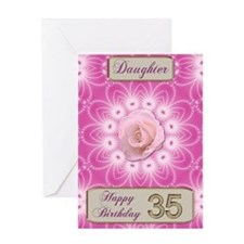 35th Birthday, for daughter with a rose Greeting C