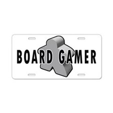 Board Gamer Gray Aluminum License Plate