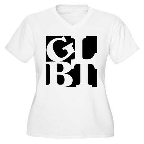 GLBT Black Pop Women's Plus Size V-Neck T-Shirt