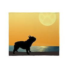 French Bulldog Surfside Sunset Throw Blanket