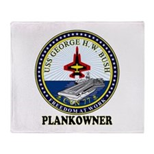 CVN-77 Plankonwer Crest Throw Blanket