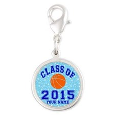 Class Of 2015 Basketball Silver Round Charm