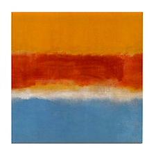 ROTHKO IN BLUE _ORANGE RED Tile Coaster