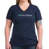 Women's Irish Dance Heart Shamrock V-Neck T-Shirt