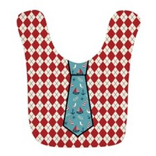 Red Argyle Sailboat Pattern Tie Print Baby Bib