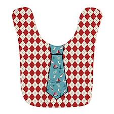 Red Argyle Sailboat Pattern Tie Print Baby Bib