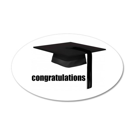 Black Congratulations Graduation Cap Wall Sticker