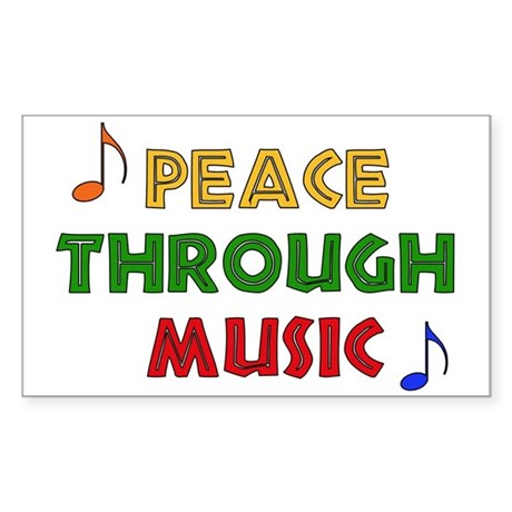 Peace Through Music Rectangle Sticker