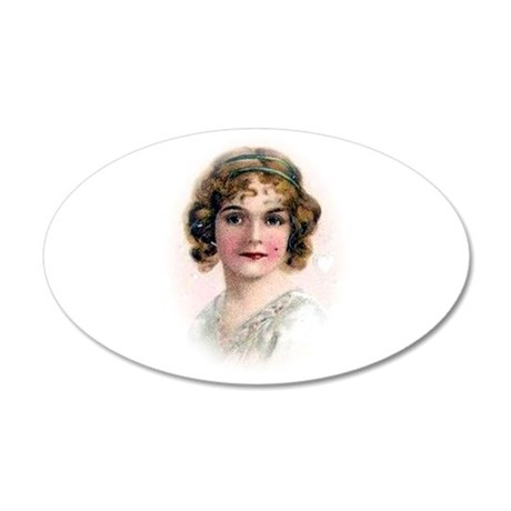 Portrait Of Flapper In Pink 20x12 Oval Wall Decal