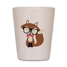 Hipster Brown Fox Shot Glass