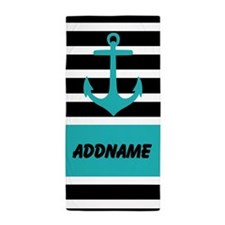 Teal Black Anchor Stripes Personalized Beach Towel