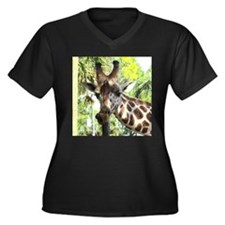 WILD GIRAFFE Women's Plus Size V-Neck Dark T-Shirt