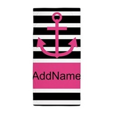 Pink Black Anchor Stripes Personalized Beach Towel
