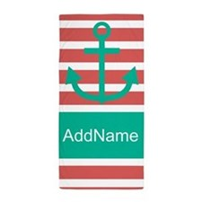 Coral Teal Stripes Anchor Personalized Beach Towel