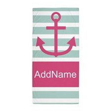 Mint Pink Nautical Stripes Cute Ancho Beach Towel