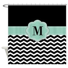 Black Mint Chevron Monogram Shower Curtain