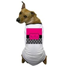 Personalizable Pink and Black Damask Dog T-Shirt