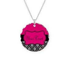 Personalizable Pink and Black Damask Necklace