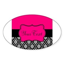 Personalizable Pink and Black Damask Decal