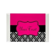 Personalizable Pink and Black Damask Magnets