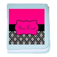 Personalizable Pink and Black Damask baby blanket