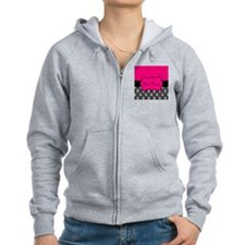 Personalizable Pink and Black Damask Zip Hoodie