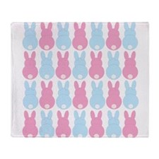 Pink and Blue Bunny Rabbits Throw Blanket