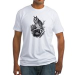 Long-eared Owl Sketch Fitted T-Shirt