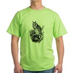Long-eared Owl Sketch Green T-Shirt