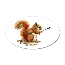 Fun Red Squirrel Roasting 35x21 Oval Wall Decal