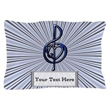 Blue Shiny Music Treble Clef and Heart Pillow Case