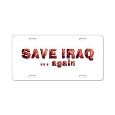 Save Iraq Aluminum License Plate