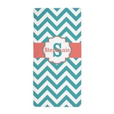Teal Coral Chevron Personalized Beach Towel