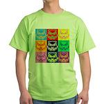 Pop Art Owl Face Green T-Shirt