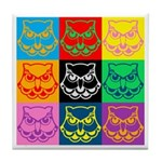 Pop Art Owl Face Tile Coaster