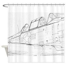 Aviation Sketch Shower Curtain