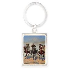 Vintage Cowboys by Remington Portrait Keychain