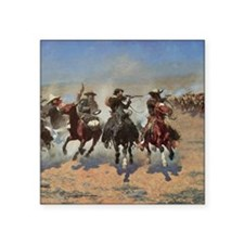 "Vintage Cowboys by Remingto Square Sticker 3"" x 3"""